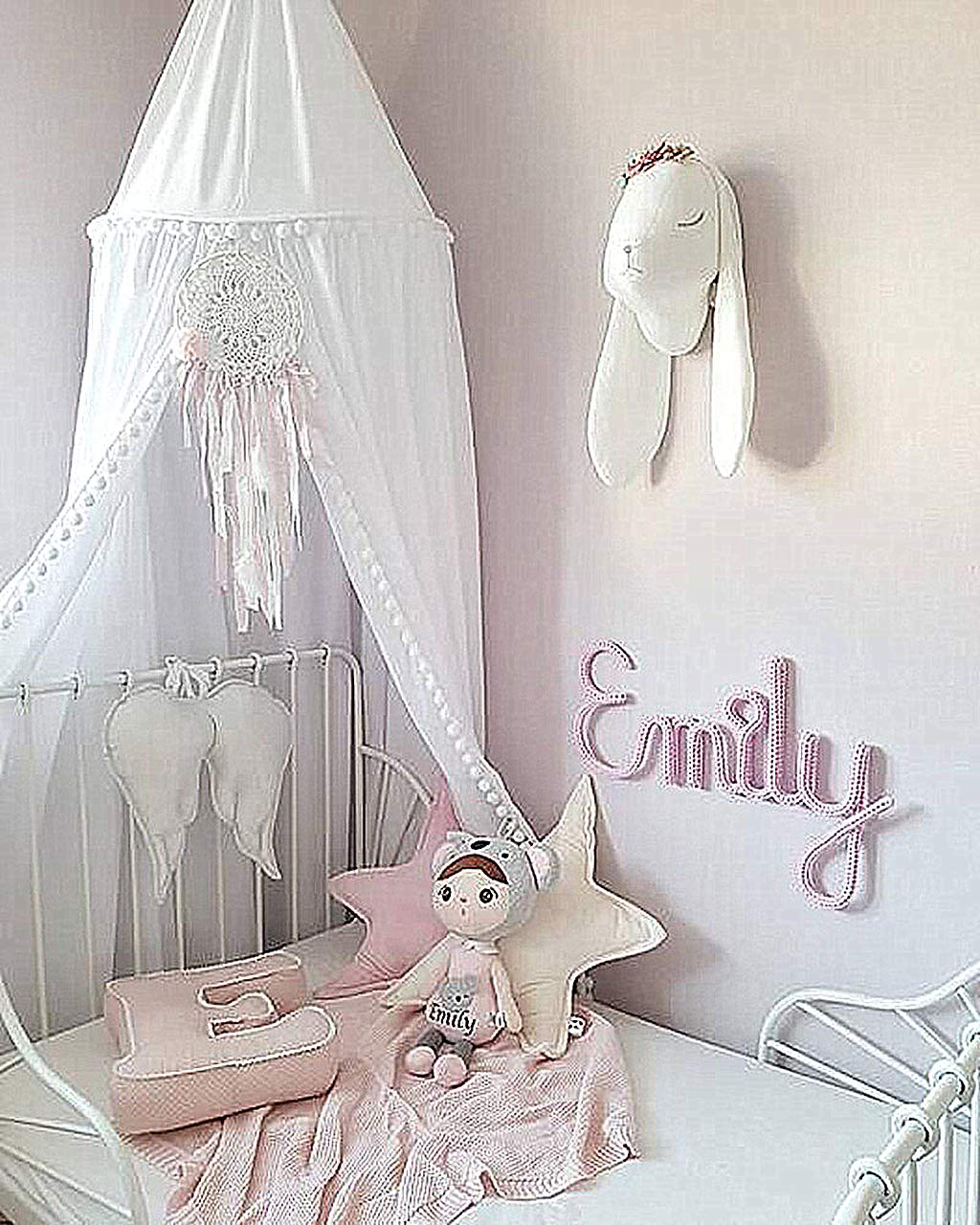 White Hanging Mosquito Net for Baby Crib Nook Castle Game Tent Nursery Play Room Decor Bed Canopy with Pom Pom for Kids Room