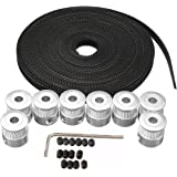 JSDL 3d Printer Accessories 8pcs 5mm 20-teeth timing pulley wheel + 5m GT2 toothed belt for 3d printers