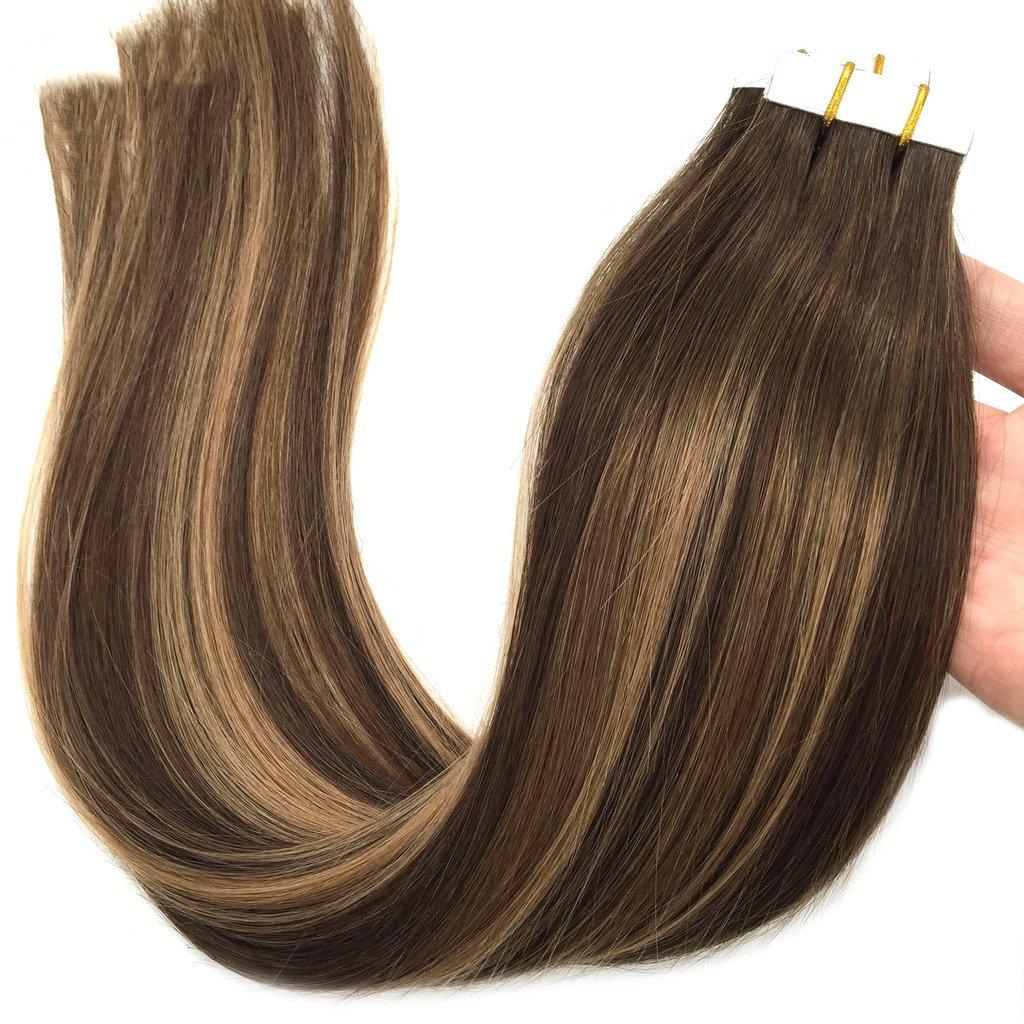 Googoo 50g 20pcs Natural Black To Burgundy Tape In Hair Extensions