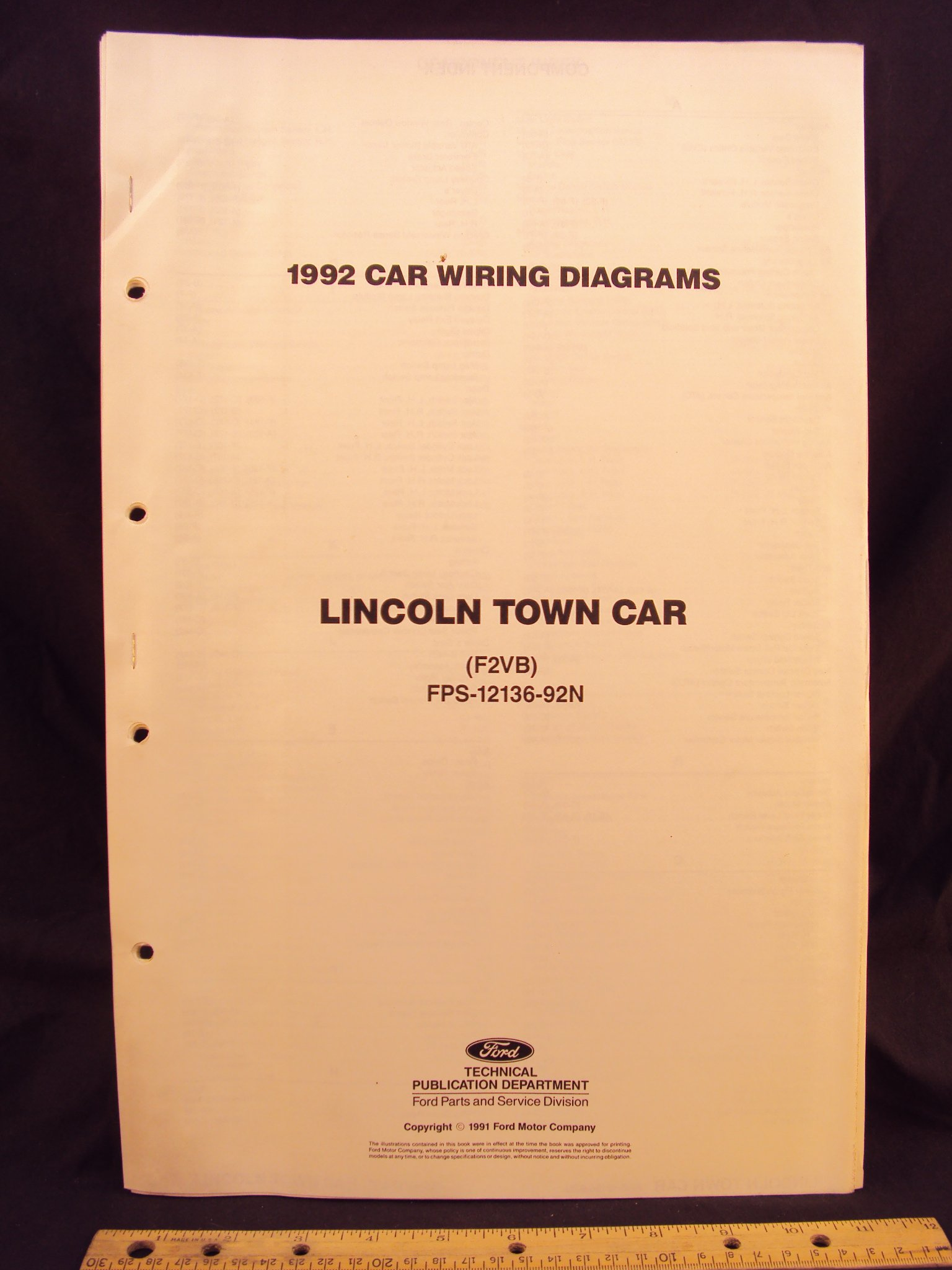 1992 Lincoln Town Car Electrical Wiring Diagrams Schematics Ford Motor Company Books