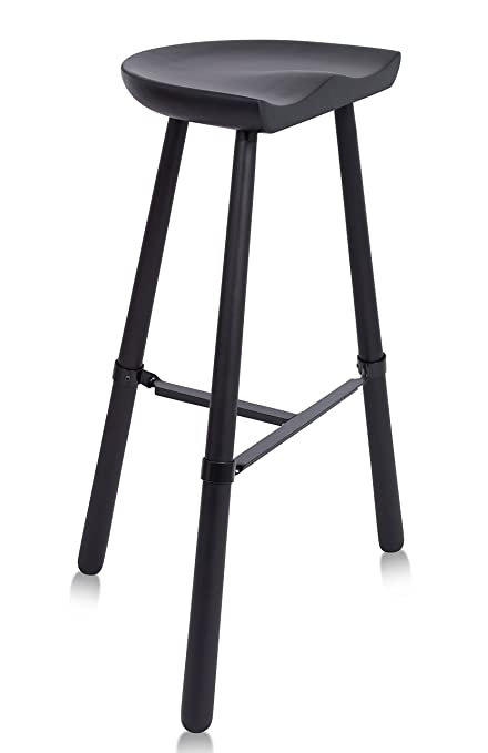 BIRDROCK HOME Industrial Shoemaker Barstool | Wooden Traditional Crafted  Contoured Saddle | 31 Inch | Bar Height | Kitchen Stool Tri Leg | Backless  | ...