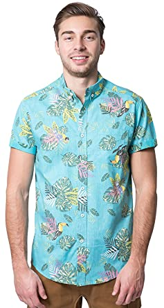 ef071c8447 Brooklyn Athletics Men's Hawaiian Aloha Shirt Vintage Casual Button Down Tee,  Aqua Leaves, Small