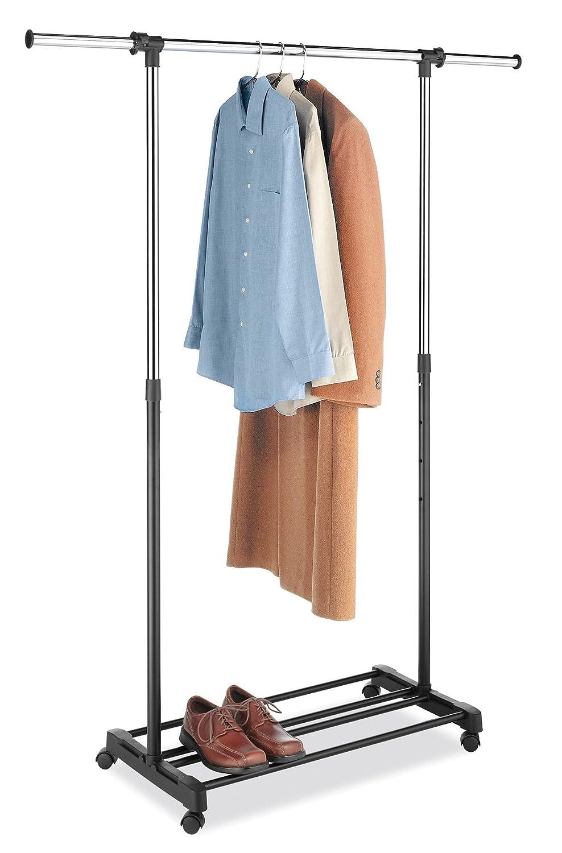 Whitmor 6021-368 Ebony Chrome Double Adjustable Garment Rack