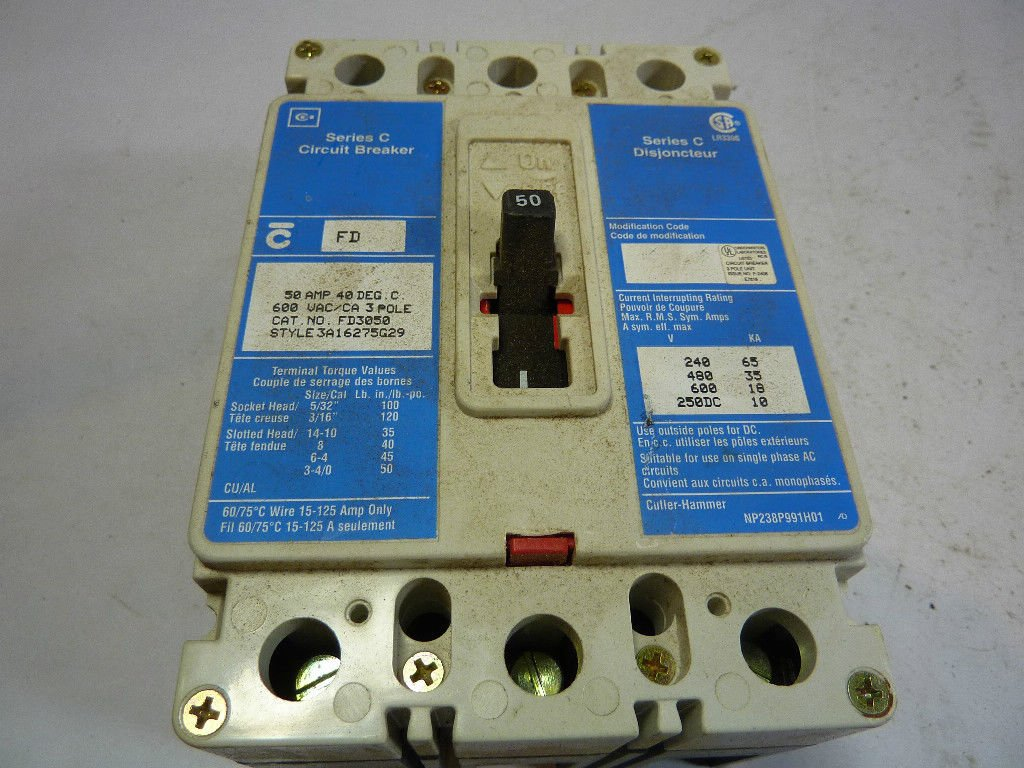 Eaton Cutler Hammer Fd3050 6639c82g91 3 Pole 50 Amp 600v Circuit Amps In A Series Breaker Industrial Scientific