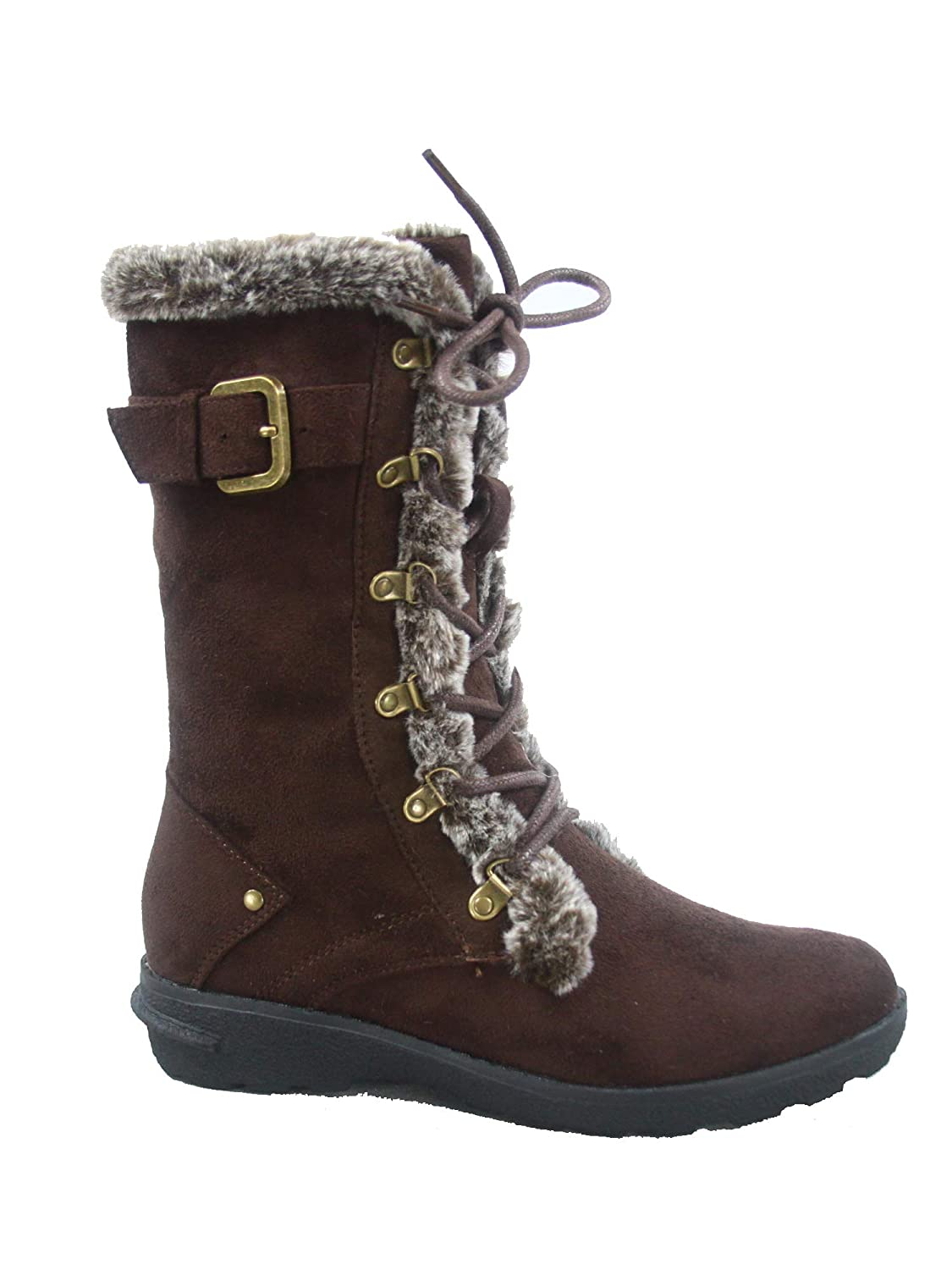 Brown Forever Link FZ-Aura-10 Women's Fashion Round Toe Lace Up Zipper Mid-Calf Winter Snow Boots shoes