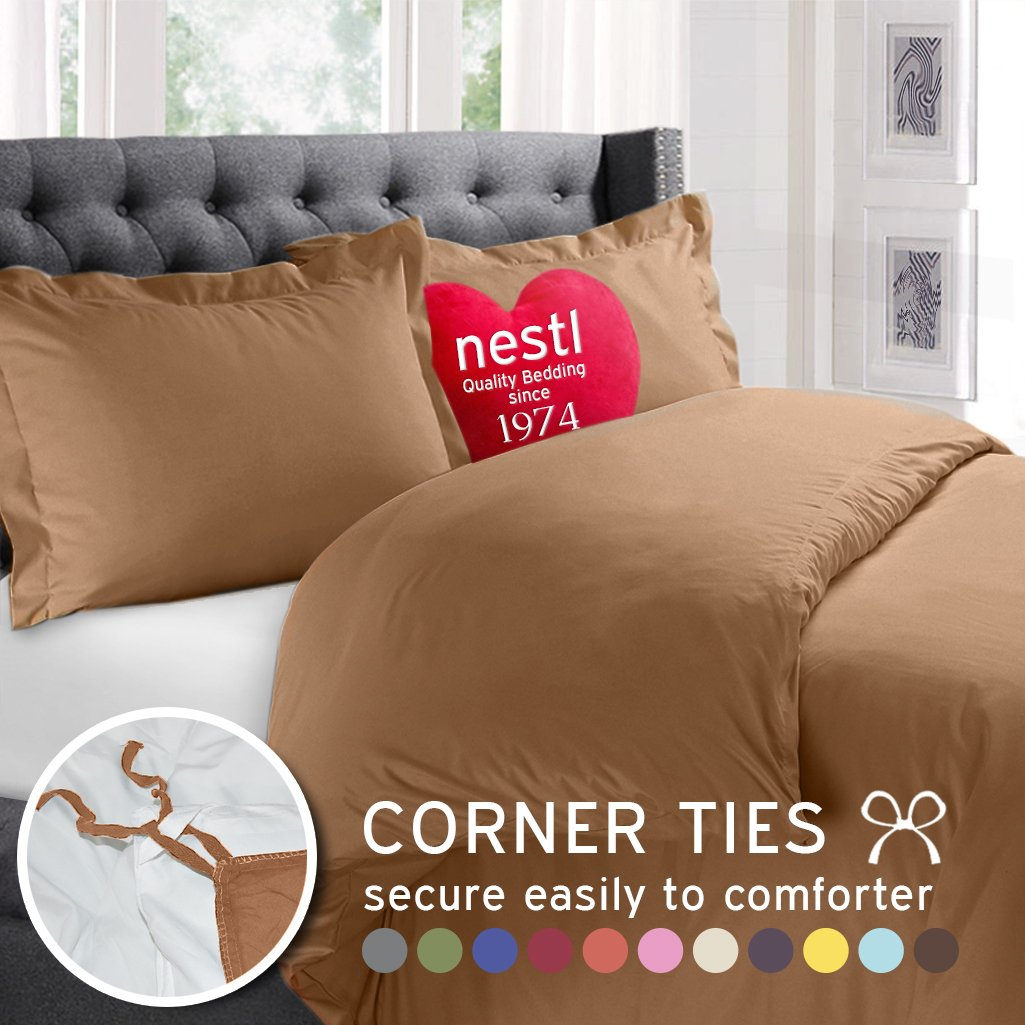Mocha Premium Duvet Cover 3-Piece Set By Nestle Bedding