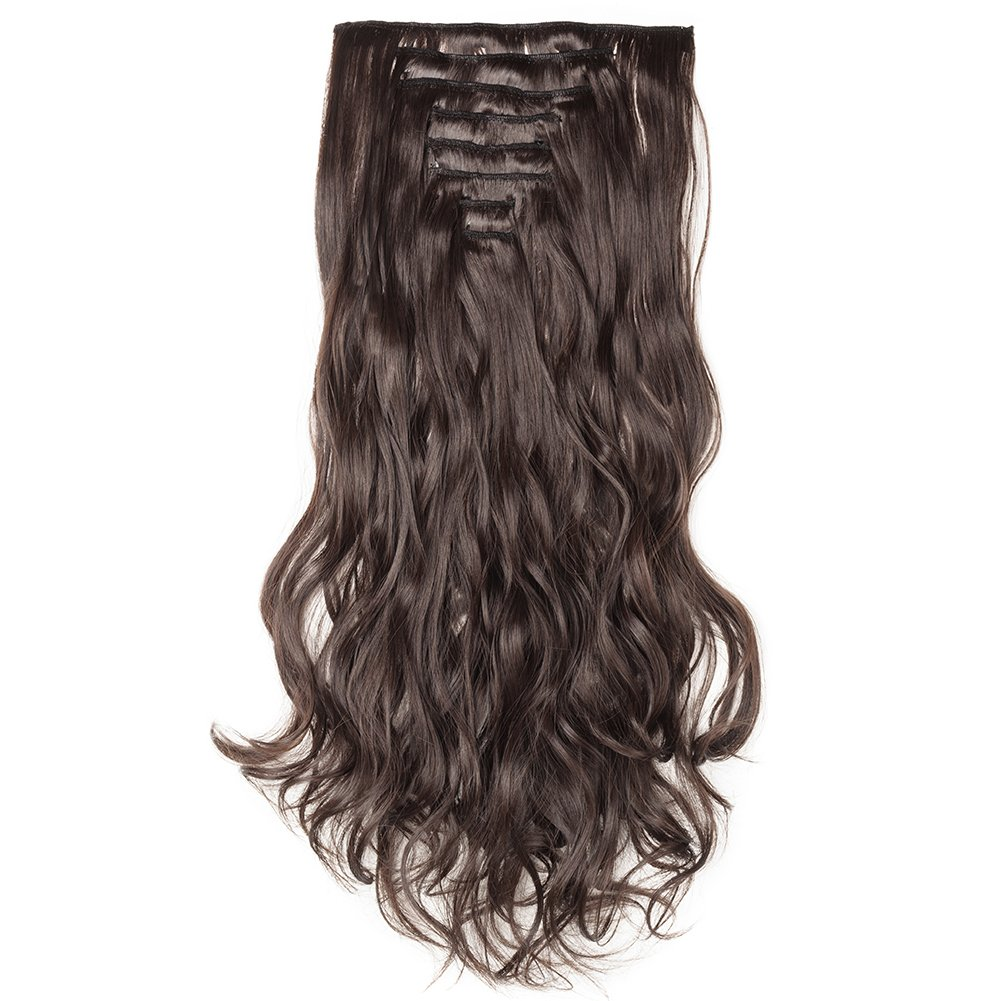 Clip in Hair Extensions Synthetic Full Head Charming Hairpieces Thick Long Straight 8pcs 18clips for Women Girls Lady (24 inches-wavy, dark brown) by Beauti-gant (Image #2)