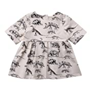 yannzi Baby Girls Dinosaur Dress Clothes Ruffle Sleeve Tutu Skirt Backless Sundress Birthday Party Princess Formal Outfit (0-6 Months, Half Sleeve)