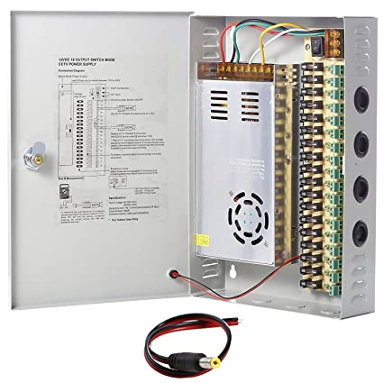 amazon com: uhppote 18 channel power supply switch box cctv camera  distribution dc12v 30a output: home audio & theater