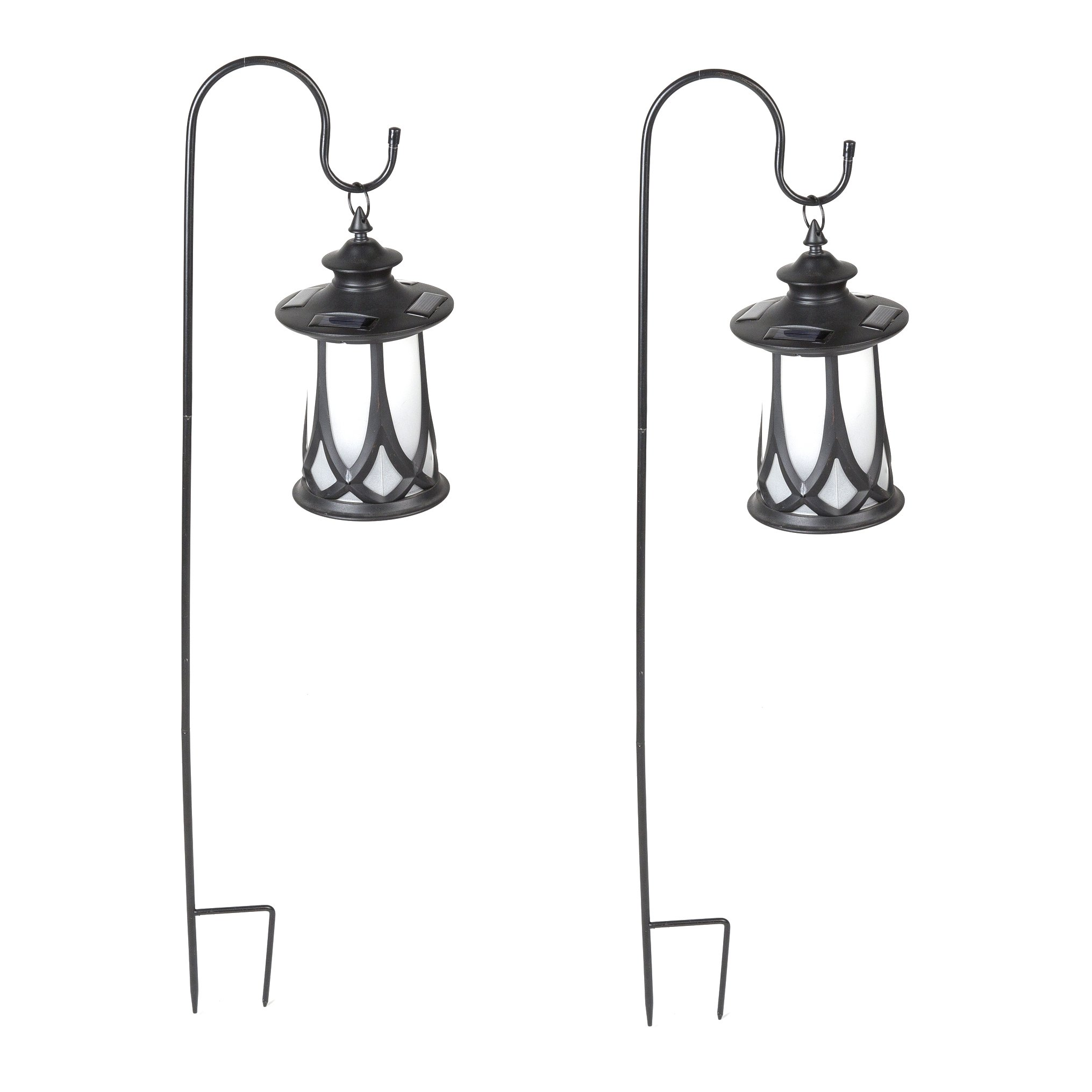Winsome House Traditional Solar Lanterns with Shepherd's Hooks, Set of 2