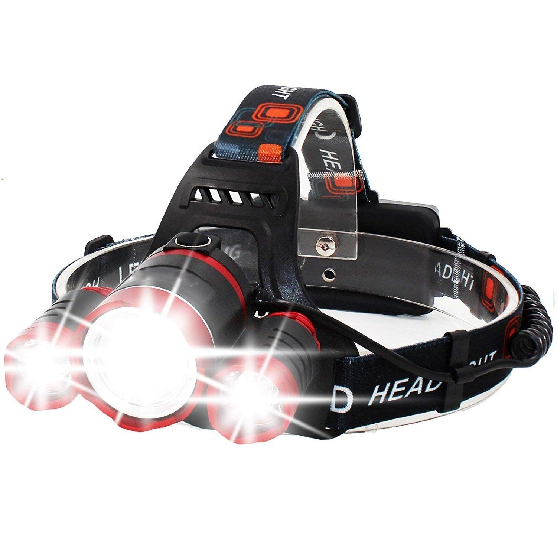 KLSHW Hiking Headlights 4 Mode LED Head Flashlight Rechargeable Waterproof Focusing Headlights 3 CREE XM-L T6 LED Headlights