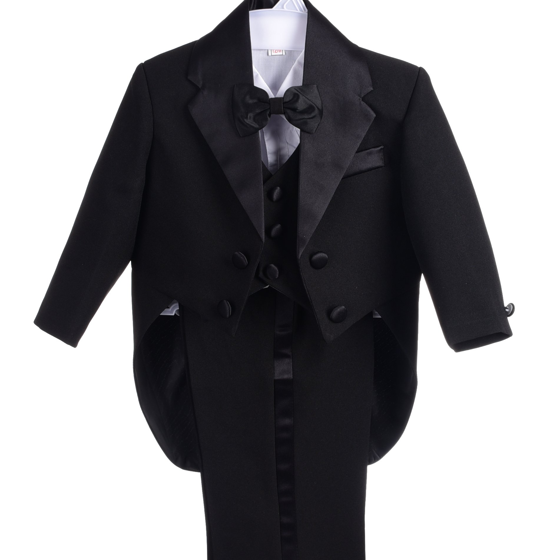 Dressy Daisy Baby-Boys' Classic Tuxedo With Tail 5pc Set Wedding Outfits Size 6 Months Black