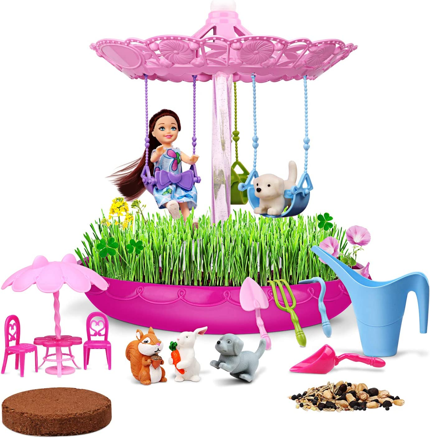 Lydaz Fairy Garden Kits for Kids, Crafts & Plant Growing Set, STEM Educational Playset, Science Gardening DIY Outdoor Toys, Christmas Birthday Gifts for 3 4 5 6 7 8 9 10 11 12 Years Old Girls and Boys