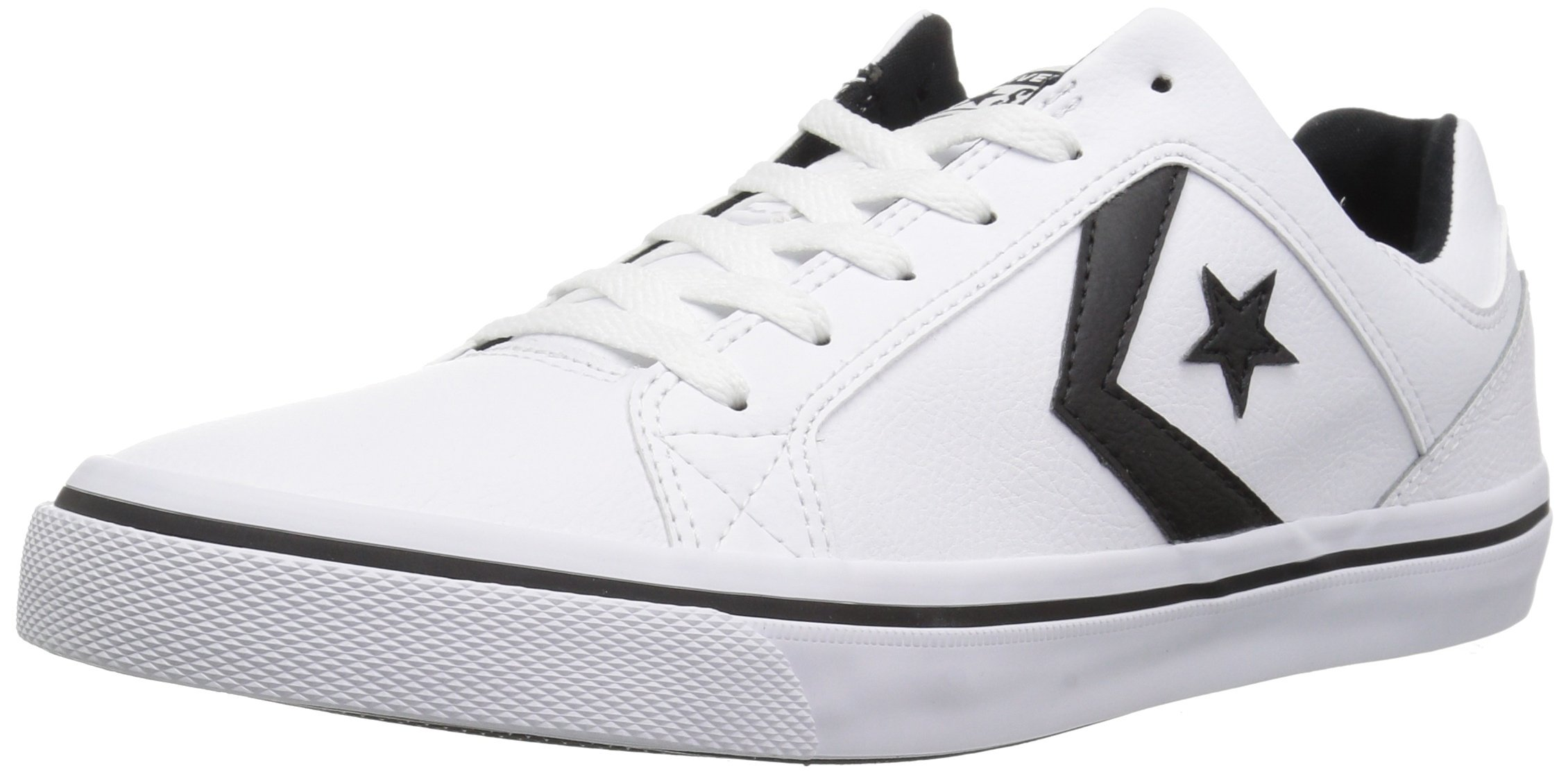 Converse EL Distrito Leather Low Top Sneaker, White/Black/White, 10 M US
