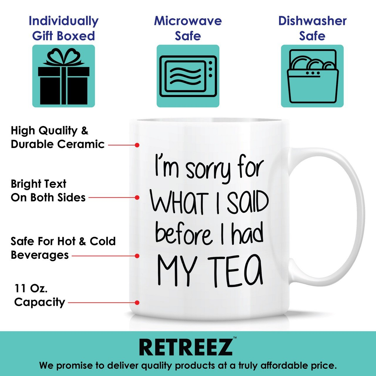 coworkers siblings mom Retreez Funny Mug Funny Inspirational birthday gifts for friends dad Sarcasm Im Sorry For What I Said Before I Had My Tea 11 Oz Ceramic Coffee Mugs Sarcastic