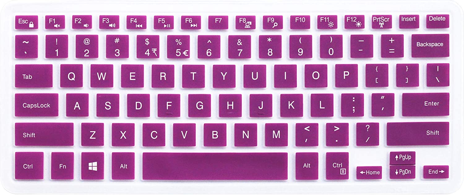 "Silicone Keyboard Skin for 2018 Dell Inspiron 13 5000 Series 5368 5378 5379; 13.3"" Dell Inspiron 7000 Series 7373 7375; 15.6"" Dell Inspiron 15 5000 7000 Series 5579 7569 (Purple) - No Numeric Keypad"