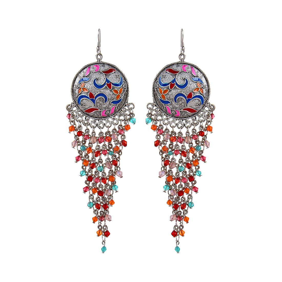 Saissa Oxidised Tassel Indian Earrings Jewelry for Girls and Women