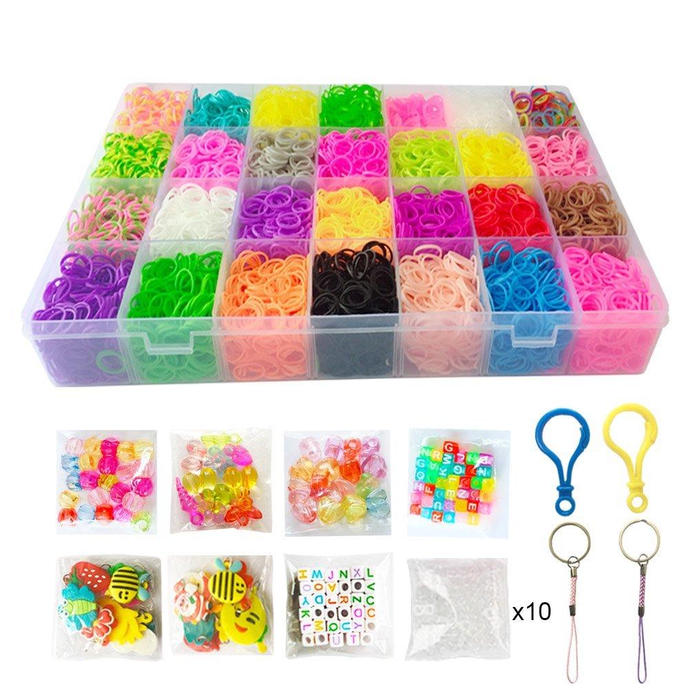 NEFUTRY 4800 Rubber Bands Loom Bracelet Making Kit, Arts & Crafts Kit for Kids Adults-DIY Crafting Gifts