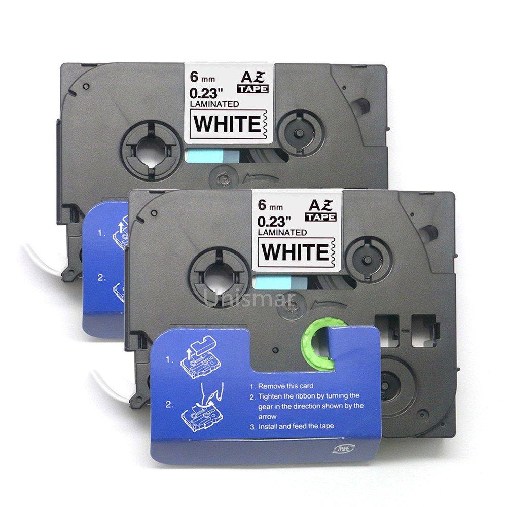 2 Pack Compatible TZe-211 TZe211 TZ-211 TZ211 Laminated Tape for Brother P-Touch PTH110 PT-D210 PT-D400AD PT-H100 PT-D400 PT-P700 PT-D600 PT-Touch Cube PT-1230PC PT-1890C PT-D600VP Label Maker Black on White 6mm x 8m (1/4 x 26.2ft) by Unismar Unismar Tech