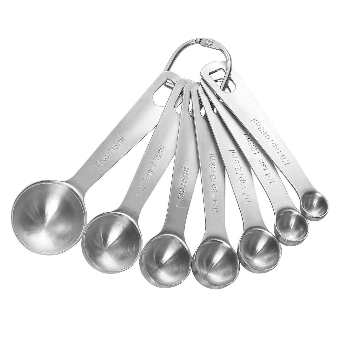 7-teiliges Edelstahl Messlöffel mit loseblattwerken Ring für einfaches Entfernen, 1/8Teelöffel bis 1Esslöffel Juvale