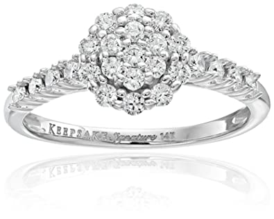 d5984c81df8 Keepsake Signature 14k White Gold Diamond Cluster Halo Engagement Ring (3 4  cttw