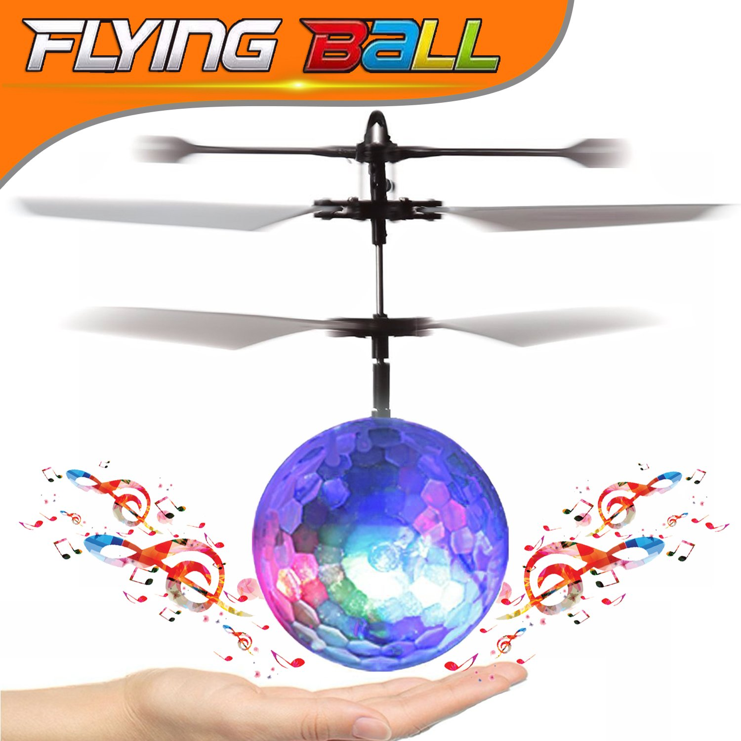GBD RC LED Flying Magic Toys Ball for Kids Boys Girls Teenagers Adults Birthday Gifts Sports Outdoor Game Hand Spinner RC Drone Infrared Induction Helicopter Aircraft with Led and Music Music Ball