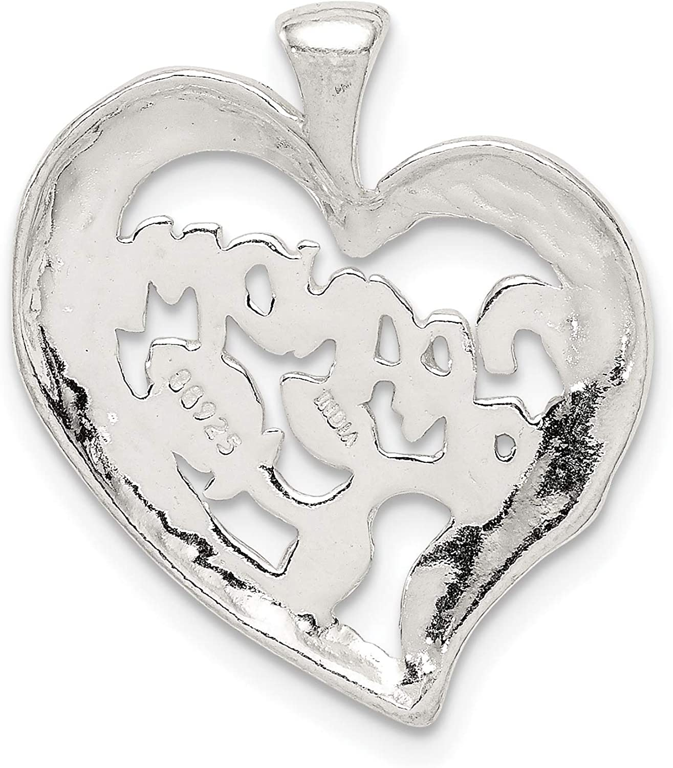 Grandma Words And Flowers On Heart Shaped Pendant In 925 Sterling Silver 20x22mm