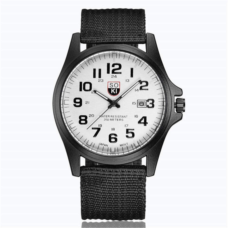 Amazon.com : SUPERON Mens Watches top Luxury Couple Fashion Nylon Strap Analog Quartz Round Wrist Watch Watches reloj Hombre relogio Masculino(Black, ...