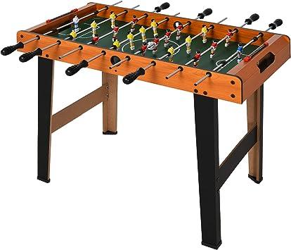 HOMCOM Mesa de Futbolín Juego de Fútbol de Mesa con 22 Jugadores Incluidos Tablas de Puntuación Agarres Cómodos Diseño Compacto 84,5x40x61,2 cm Color Madera y Negro: Amazon.es: Juguetes y juegos