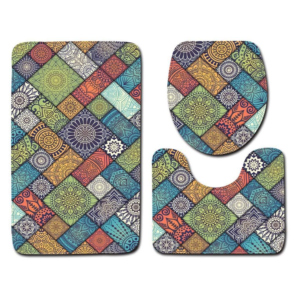 Home Store Ensemble de tapis de bain en trois pièces avec coussins absorbants et antidérapants pour la salle de bain, y compris tapis de bain, tapis et couvercle de toilette