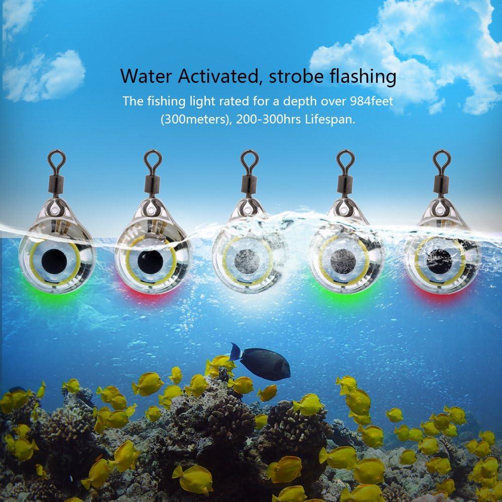 Rosepoem 5 STK LED-Fischlicht Tiefsee-Unterwasser-Rundform Tintenfisch-Blitzlicht Blinklicht-K/öder