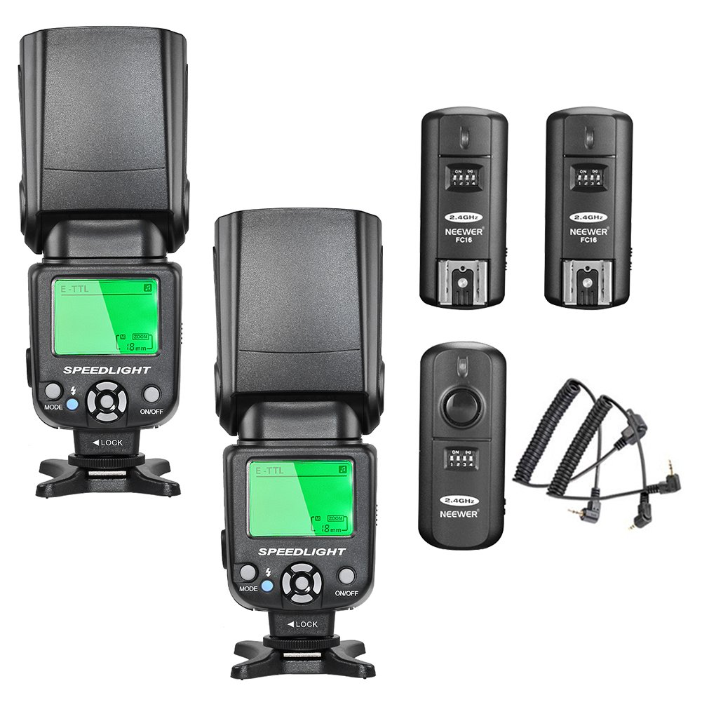 Neewer® NW-562C E-TTL Flash Speedlite Kit for Canon DSLR Camera, Kit Include:(2) NW562C Flash+(1) FC-16 2.4Ghz Wireless Trigger(1 * Transmitter+2 * Receiver)+(1) Microfiber Cleaning Cloth