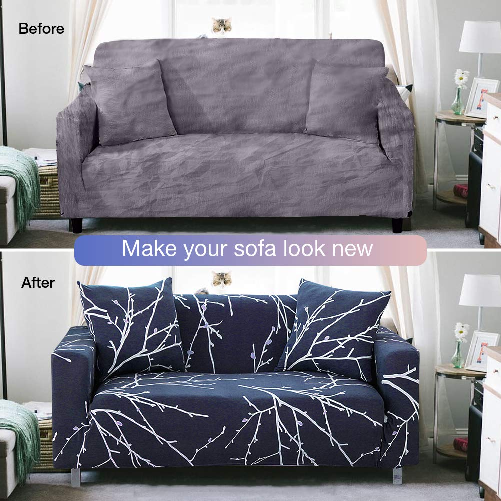 Bikuer Printed Sofa Cover XL XLarge Stretch Couch Cover Water Repellant Sofa Slipcovers for 4 Seater Cushion Couch Arm Chair Furniture Cover 4 Seats