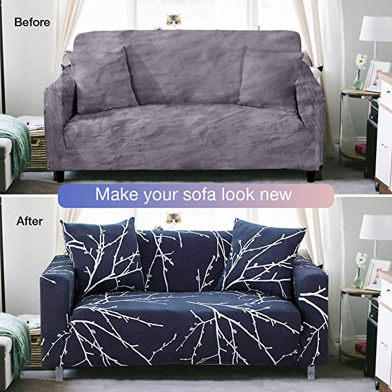 Bikuer Printed Dark Blue Sofa Cover Stretch Couch Cover Sofa Slipcovers for 2 Cushion Couch with One Free Pillow Case (Love seat, Branches)