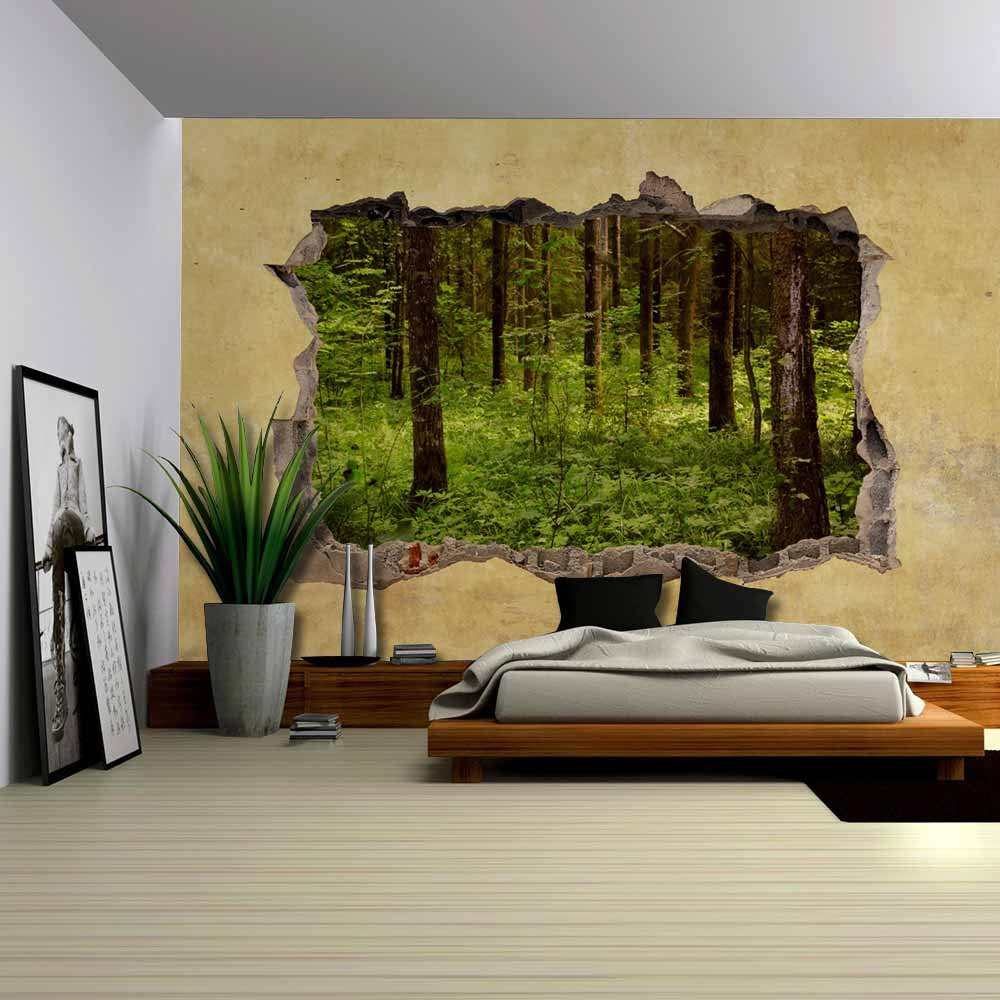 Trees in the Forest Viewed through a Broken Wall Large Wall Mural