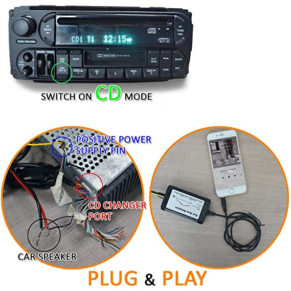 Car Stereo Radio MP3 CD 3 5mm AUX Adapter Interface Compatible for Chrysler  Dodge Jeep Non-Navigation