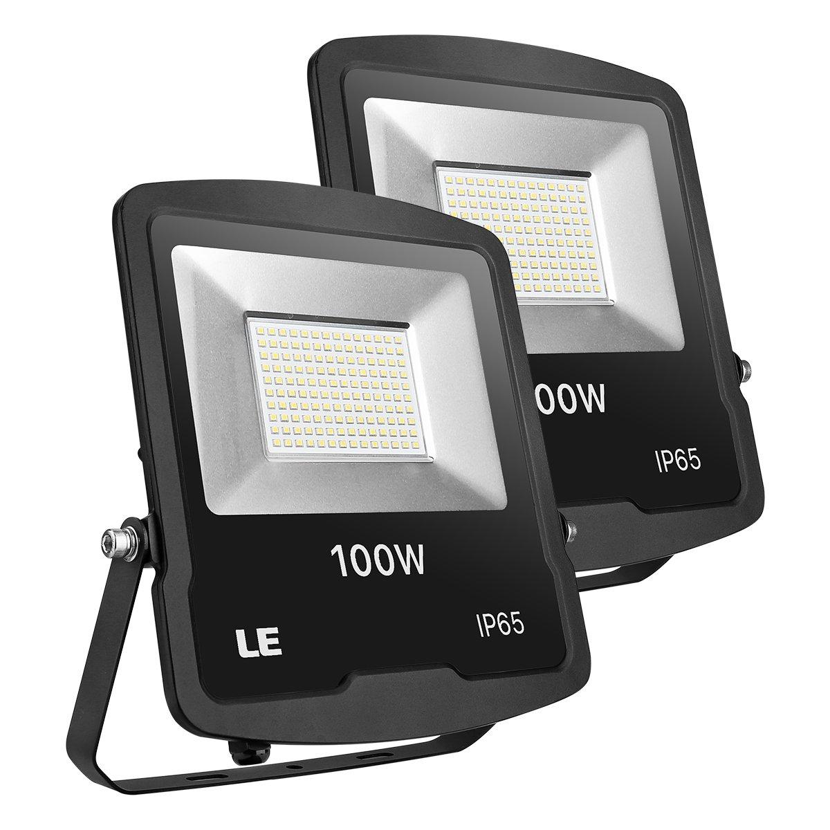 LE Proiettori Faro 100W LED, 8000 lumen, Impermeabile IP65, Bianco Freddo per Esterni e Interni, 2 Pezzi
