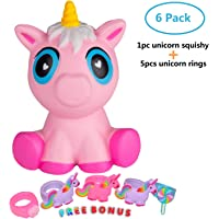 Unicorn Squishies Slow Rising Jumbo Cute Kawaii Unicorn Squishy Toys Bundle with 5 Unicorn Rings for Women Girls Kids Party Toy, Stress Reliever Toys and Gift (1 Huge Unicorn Squishy +5 Unicorn Rings)