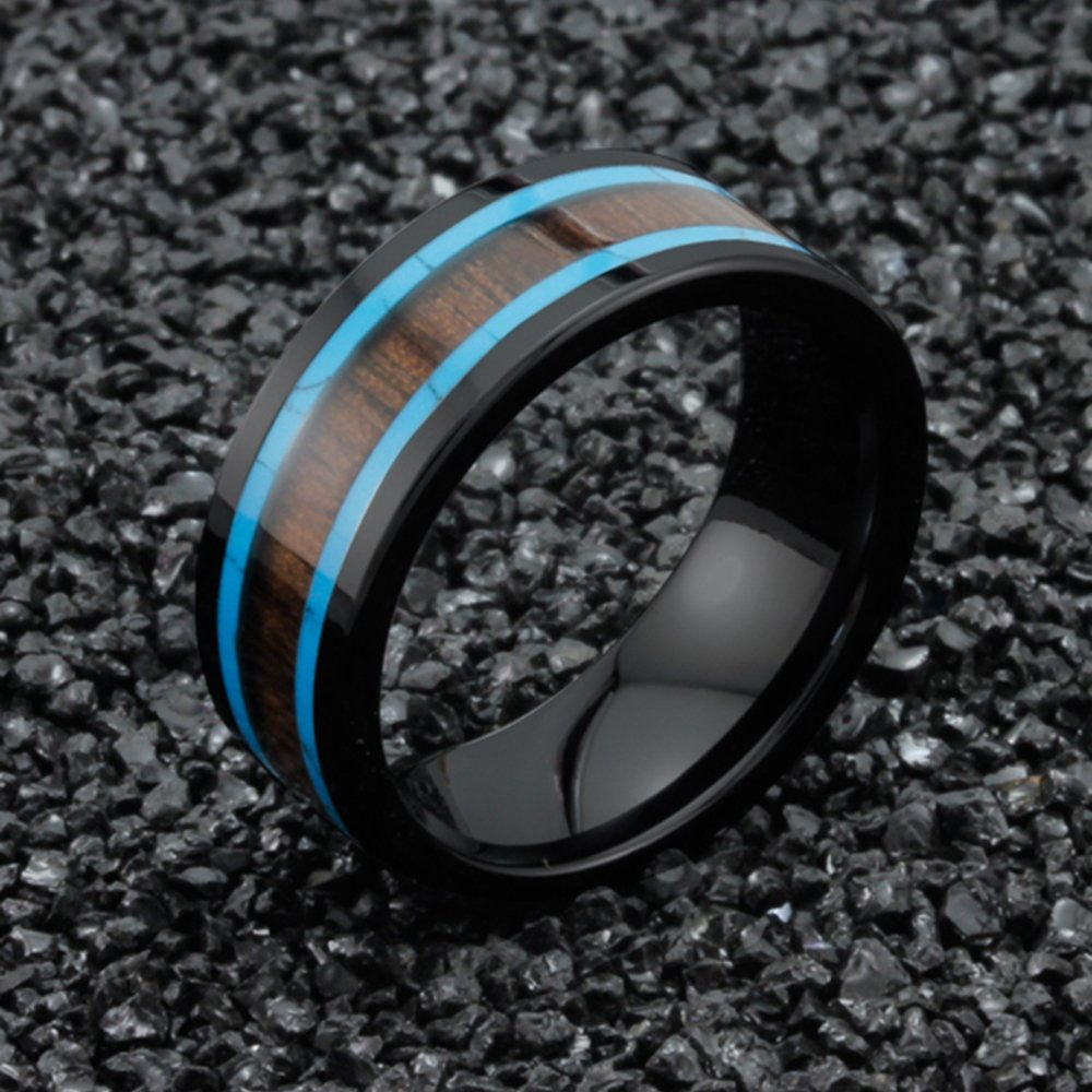 Men Women 8mm Black Ceramic Ring Vintage Wedding Engagement Band with Koa Wood Two Lines Solid Turquoise Size 11 by Fashion Month (Image #2)
