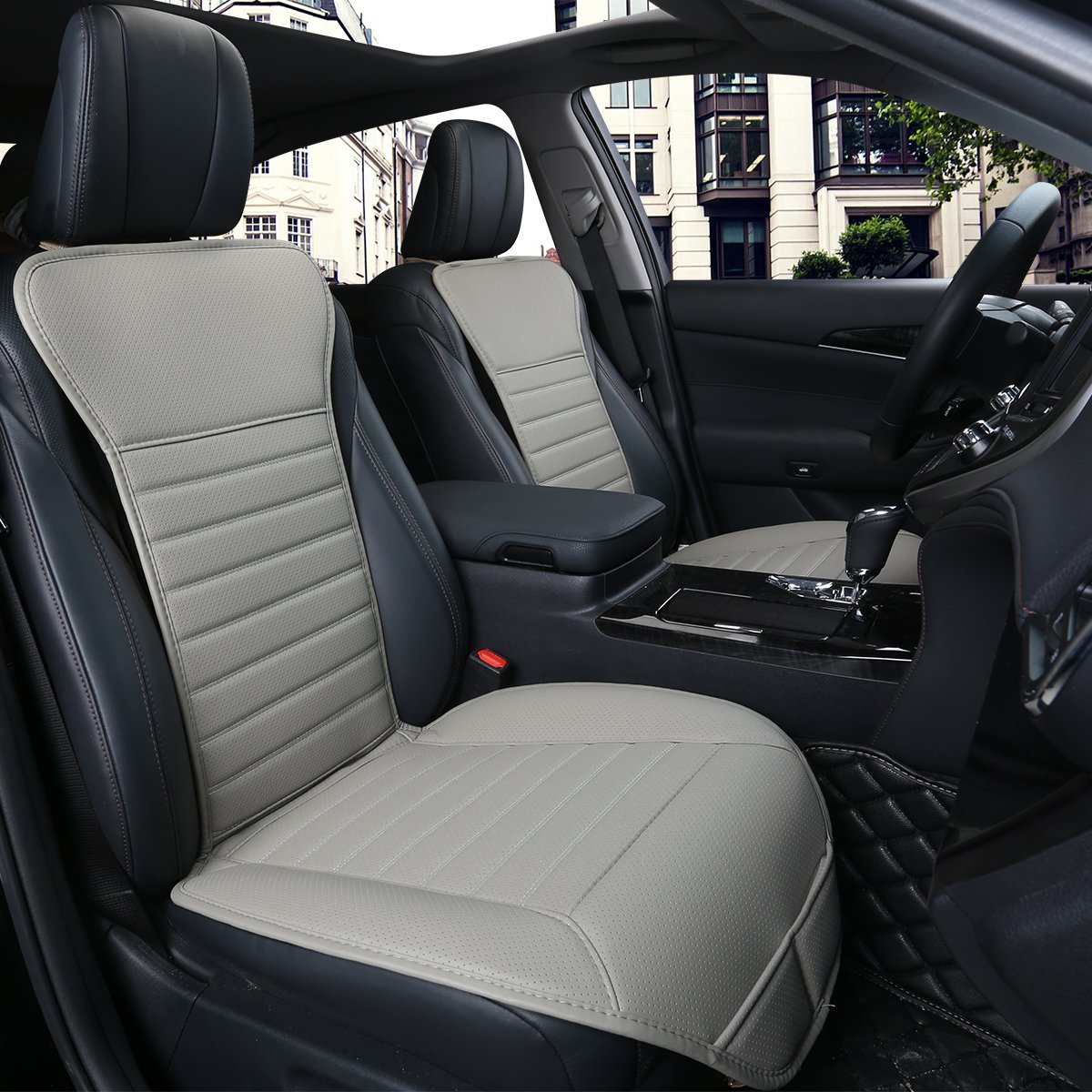 2PCS Driver and Passenger Seat Cover PU Leather Seat Covers Universal Car Seat Cover Front Seat Protector Fit Most Sedans /&Truck /&SUV EDEALYN 2 PCS Gray - no Charcoal