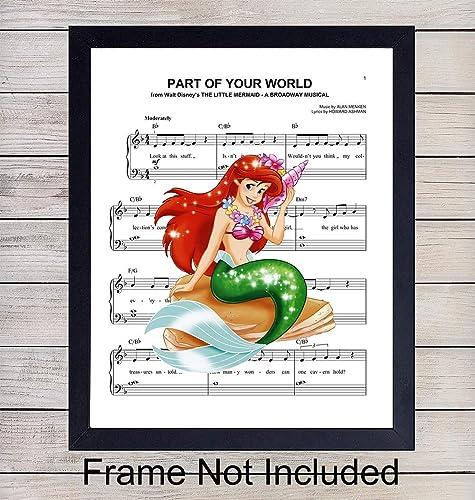 Little Mermaid Sheet Music - Wall Art Print - Ready to Frame (8X10) Photo -  Perfect Gift For Baby Girls Room, Nursery, Disney World Fans - Disneyworld