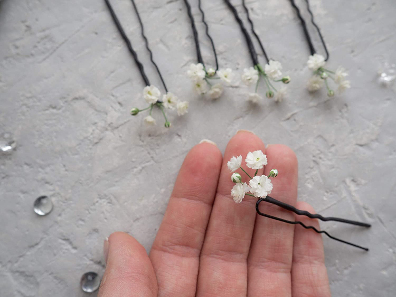 Babys Breath Gypsophila Hair Pin for Wedding Bridal Floral Hair Pins Fake Realistic Flowers