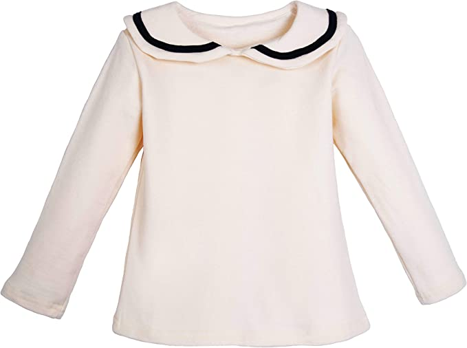 Baby Girl Cotton Peter Pan Collar Long Sleeve Solid Color Top T-shirt Hot Sell