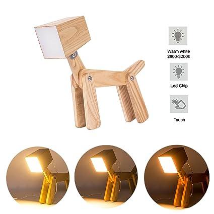 HROOME Modernas Regulable Lámpara de Mesa de Madera Tactil Perro Led Lamparas Mesilla de Noche para Salon Dormitorio Infantiles Niños (Pequeña, blanco ...