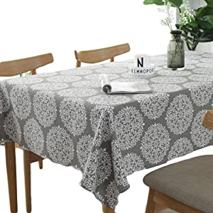 meioro Tablecloth Grey Retro Table Cloth Rectangular Tablecloths Cotton Linen Table Cover Suitable for Home Kitchen Decoration,Various Sizes (Retro Printing, 55