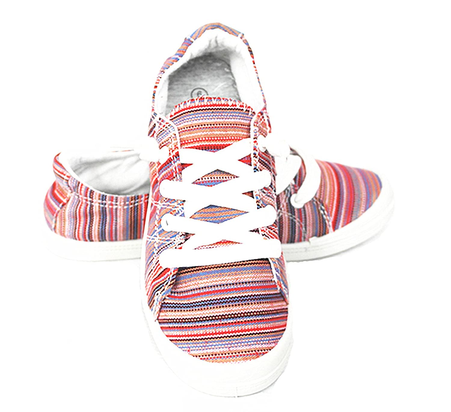 Forever Link Comfort Women's Lace up Casual Street 6 Sneakers Flat Shoes B07D6W9KLV 6 Street B(M) US|Red-03 ee1980