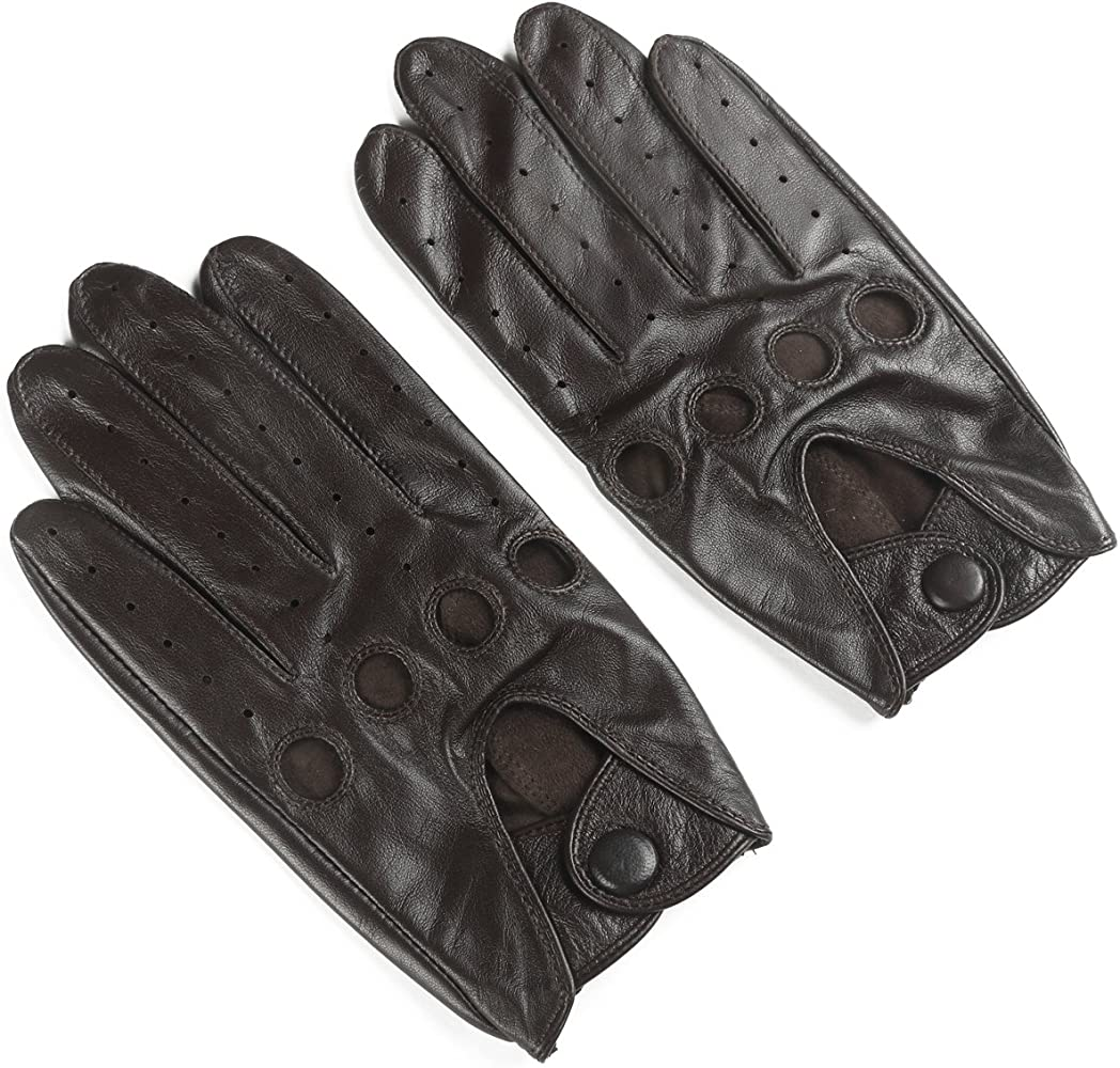 MENS CLASSIC DRIVING GLOVES LAMBSKIN LEATHER DRESS GLOVES BROWN TAN BLACK