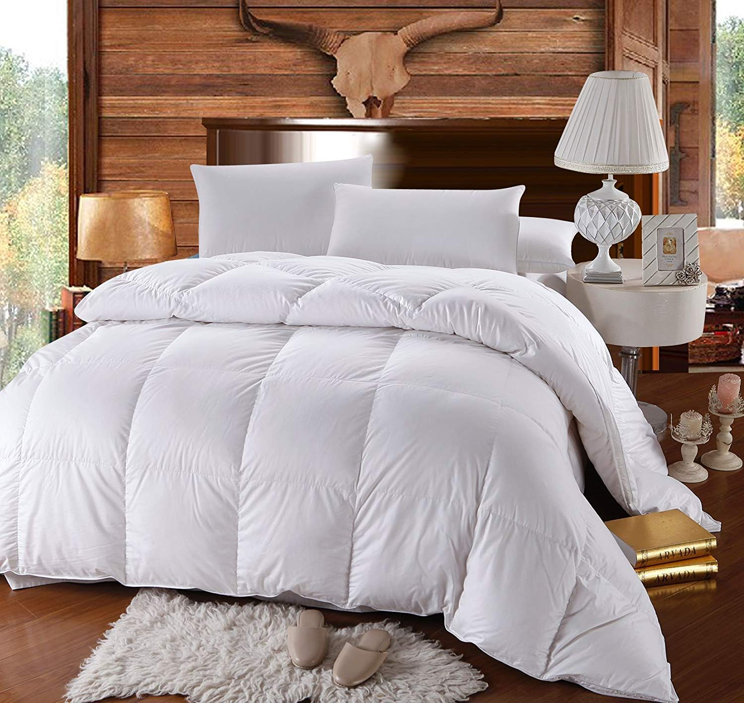 Amazon com royal hotel queen size down comforter 500 thread count down comforter 100 percent cotton 500 tc 750fp 50oz solid white home kitchen