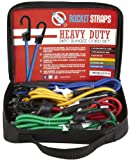 Rocket Straps Heavy Duty 24 Bungee Cord Set with Steel Plastic Coated S Hooks, Tie Downs, Ball Bungees and Large Carrying Bag - A 50/50 Latex Rubber Blend
