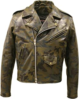 product image for All Leather Camouflage Biker Jacket (58 Long/Tall)
